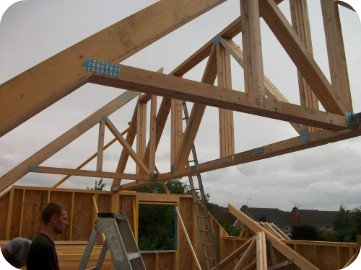 Once the new timber frame structure is erected the roof structure begins to take shape.