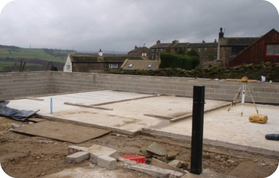 The stable block / garage extension was erected in the same manor as a timber frame house or house extension. A slab was laid and the soleplate was fitted ready to accept the timber frame structure.