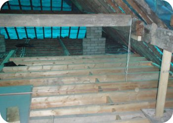 We fit as much of the floor as possible without removing the roof structure. Giving us a deck to ensure existing ceilings aren't damaged when the existing roof is removed.